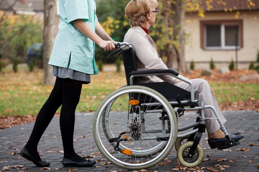 Caregiver and elder woman
